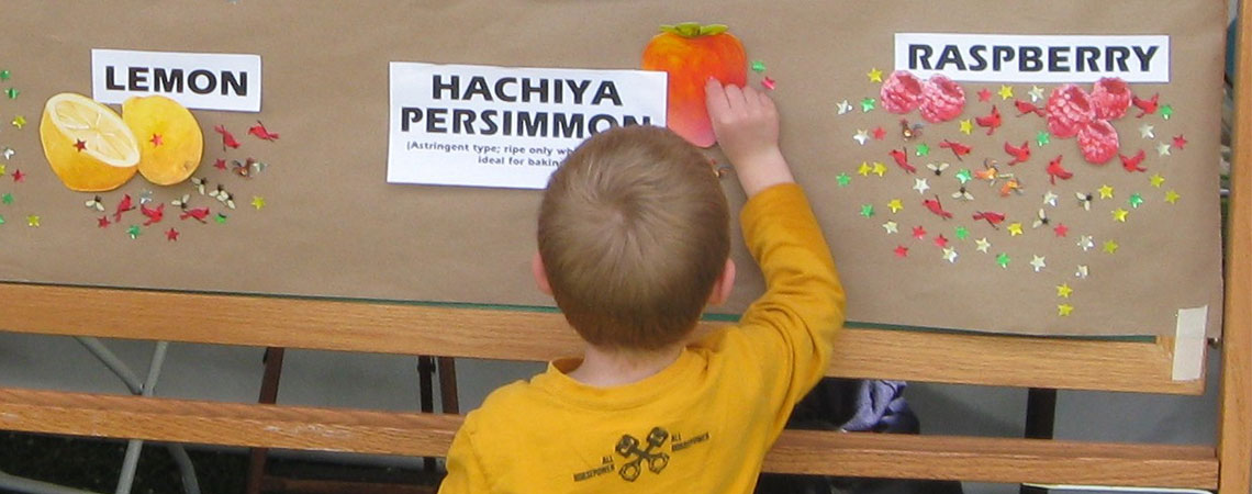 Youngster selects favorite fruit tree on Earth Day